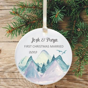 First Christmas Married Keepsake Decoration - Mountains Design
